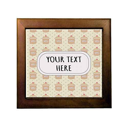 Ceramic Tile in Wood Frame Custom Kitchen Canister Pattern Orange Brown Adults