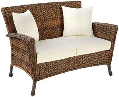W Unlimited Rustic Collection Outdoor Furniture Light Brown Rattan Wicker Loveseat Sofa 2 Seater Garden Patio Furniture Conversation Set