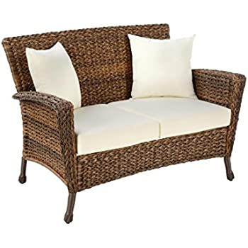 Genial W Unlimited Rustic Collection Outdoor Furniture Light Brown Rattan Wicker  Loveseat Sofa 2 Seater Garden Patio