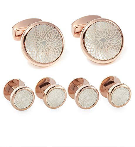 (Tateossian Rotondo Guilloche Stud Set in IP Rose Gold With White Mother of Pearl)