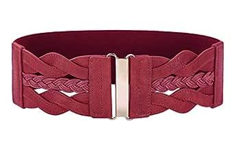 Women 50s Elastic Stretchy Retro Wide Waist Cinch Belt - Red - Small