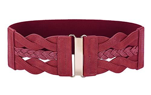 Women 50s Elastic Stretchy Retro Wide Waist Cinch Belt (Belt Size Waist Size)