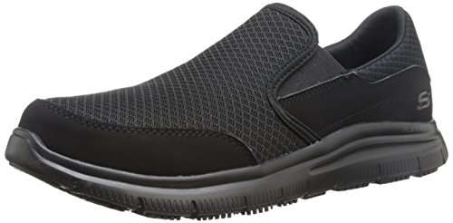 (Skechers Men's Black Flex Advantage Slip Resistant Mcallen Slip On - 9 D(M) US)