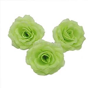 Silk Flowers Wholesale 100 Artificial Silk Rose Heads Bulk Flowers 10cm for Flower Wall Kissing Balls Wedding Supplies (Green)