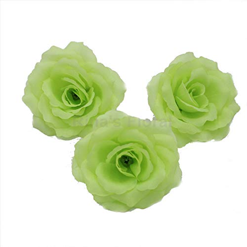 Silk Flowers Wholesale 100 Artificial Silk Rose Heads Bulk Flowers 10cm for Flower Wall Kissing Balls Wedding Supplies (Green) (Green Kissing Ball)