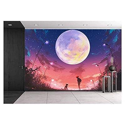 Huge Moon Above Woman and Dog Wall Decor...