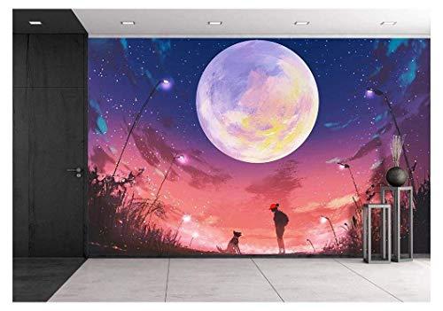 Huge Moon Above Woman and Dog Wall Decor