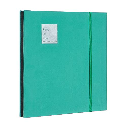 DansonUS Scrapbook Velvet Cover Photo Album 40 Thick Pages with Protective Film Save Images Permanently, DIY Memory Book, Perfect Album for Anniverseries, Birthdays, Weddings and Travelling(GreenL)
