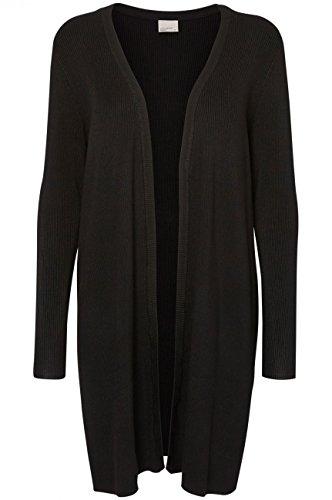 Vero Moda Vmglory Babette Rib Ls Long Cardiga Noos, Chaqueta para Mujer Schwarz (Black)