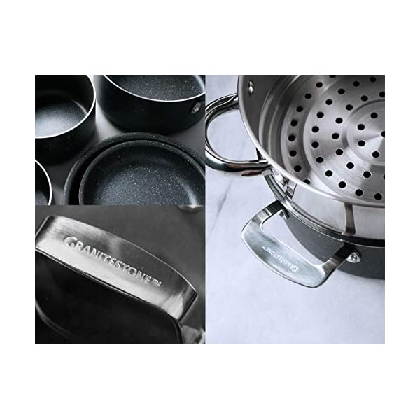 GRANITESTONE 10 Piece Nonstick Cookware Set, Scratch-Resistant, Granite-Coated, Dishwasher and Oven-Safe, PFOA-Free As… 6