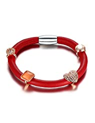 MG Jewelry Red Genuine Leather Women's Charm Bracelets Cuff Magnetic Clasp