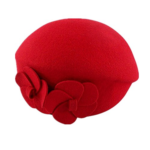 Zcargel Fashion French Flowers Beret Beanie Hat Bucket Wool Felt Cap Wedding Bowler Hat for Women Ladies Girls