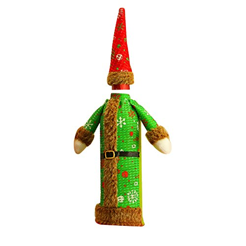 LBgrandspec Christmas Cute Beer Wine Bottle Cover Gown Robe Hat Bag Party Table Decor Green