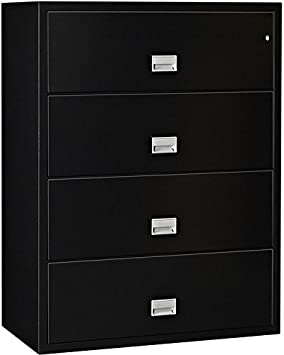 Phoenix Lateral 31 inch 4-Drawer Fireproof File Cabinet with Water Seal – Black