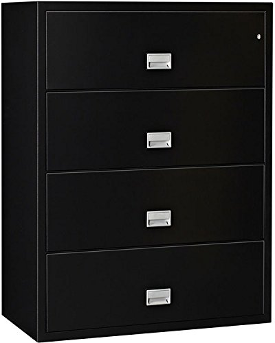 (Phoenix Lateral 31 inch 4-Drawer Fireproof File Cabinet - Black)