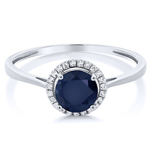 10K White Gold Diamond Engagement Ring Round Blue Sapphire (1.22 cttw, Available in size 5, 6, 7, 8, 9)