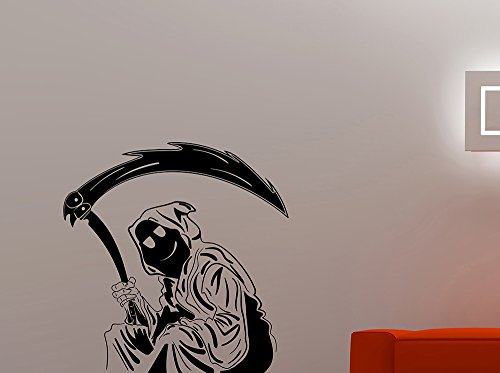 Smile Grim Reaper Vinyl Wall Decal Evil Skeleton Sticker Halloween Home Interior Decorations Scary Art Room Bedroom Monster Decor 7rpr ()