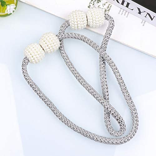 Milisten 2pcs Blue Magnetic Curtain Buckle Tiebacks Decorative Pearl Ball Curtain Holdbacks Clips for Window Draperies Rope Ties Office Living Room Bedroom