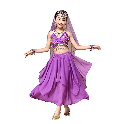 Kids' Costume Foutou Girls Belly India Dance Outfit Clothes Top+Skirt (S, Purple)