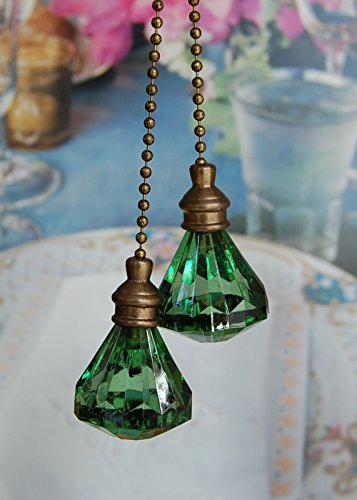 Acrylic Pull Chain - Set of 2 Crystal Green Diamond Ceiling Fan Pull with Bronze Chains