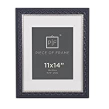 Golden State Art, 11x14 Photo Frame, Black Silver Burgundy with Ornate Molding, Ivory Mat for 8x10 Pictures and Real Glass