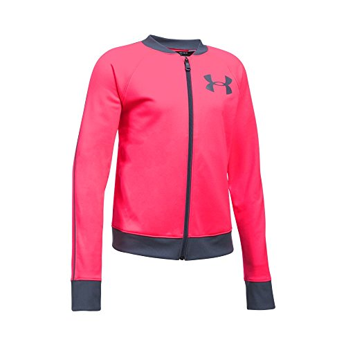 Under Armour Girls' Track Jacket,Penta Pink (975)/Apollo Gray, Youth (Under Armour Pink Jacket)