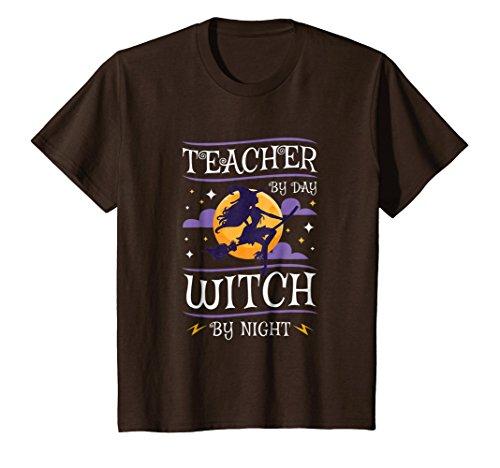 Kids Teacher Halloween Shirt Teacher By Day Witch By Night Gift 12 Brown