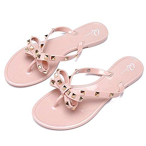 Qilunn Womens Rivets Bowtie Flip Flops Jelly Thong Sandal Rubber Flat Summer Beach Rain Shoes