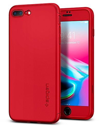 Spigen Thin Fit 360 Designed for Apple iPhone 7 Plus Case (2016) 2 Tempered Glass Screen Protectors Included - Red