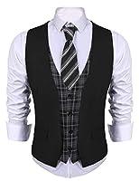 COOFANDY Men's Business Suit Vest Layere...