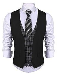 COOFANDY Men's Business Suit Vest Layered Plaid Dress Waistcoat for Wedding, Date, Dinner