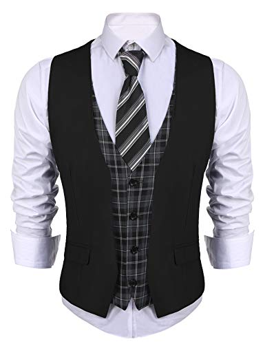 COOFANDY Men's Dress Suit layered Vest V Neck Plaid Patchwork Wedding Waistcoat Black Medium (T-shirt Wedding Designs)
