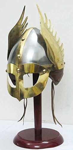 Medieval Mask Viking Helmet Replica Armor Warrior Helmet With Wooden Stand and Liner ()