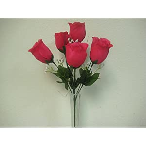"3 Bushes Rose Bud Artificial Silk Flowers 13"" Bouquet 6-599 95"