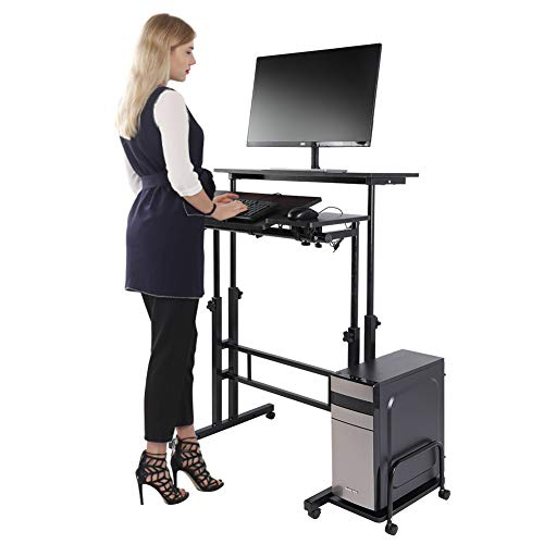Standing Desk, Height Adjustable Stand up Desk Home Office Computer Laptop Workstation with Wheels and Host Shelf (Black) (Computer Desk with Shelf)