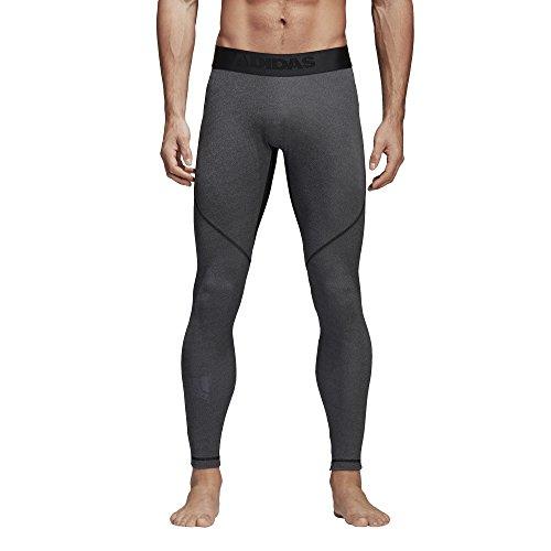 adidas Mens Training Alphaskin Sport Long Tights, Dark Grey Heather/Black, Large