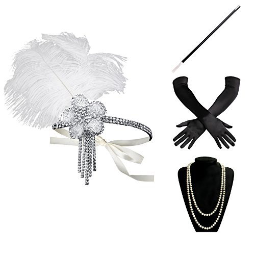 BABEYOND 1920s Flapper Gatsby Costume accessories Set 20s Flapper Headband Pearl Necklace Gloves Cigarette Holder (Set-8) - Gatsby Costume Ladies