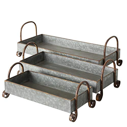 Farmer's Market Raised Rectangle Long Decorative Trays, Set of 3, Curved Handles, Curled Feet, Galvanized Metal, Each Over 1 Ft Long (19 3/4, 16 1/4 and 13 Inches) Trough Planter Holders
