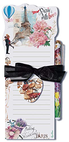 (Lissom Design Die-Cut Magnetic List Pad, 3.75 x 8.75-Inches, From Paris with Love (Renewed))