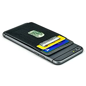 Removable Synthetic Leather Adhesive Sticky Card Wallet for Smartphones by Dockem; Canvas Twill Style, Stick-on Card Case for iPhones, Android phones