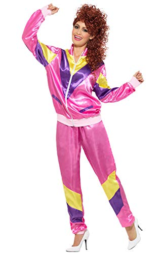 Smiffys Women's 80's Height of Fashion Shell Suit Costume, Jacket and pants, Back to the 80's, Serious Fun, Size 10-12, 39660