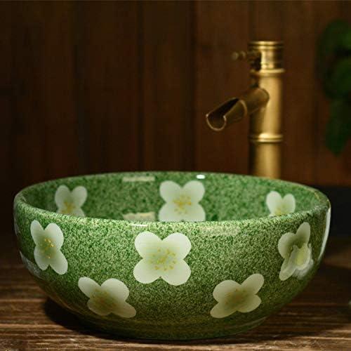 カウンタ流域洗面台家庭用浴室片面トレイ小さなバルコニー流域洗面台上陶芸流域、