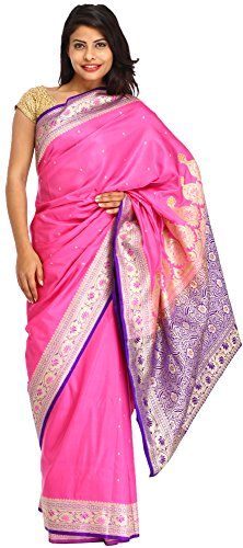 Exotic India Pink and Blue Sari from Banaras with Woven Lotuses on Border and Br (Pink Indian Sari Adult Costume)