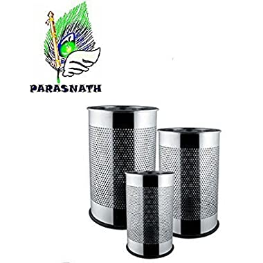 """Parasnath Stainless Steel Perforated Open Dustbin/Stainless Steel Garbage Bin/Small, Medium and Large/ - 6 Litre (7""""x10"""") + 10 Litre (8'' X 12'') + 18 Litre (10'' X 14'')- Set of 3 Pcs 8"""