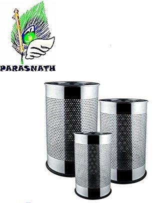 """Parasnath Stainless Steel Perforated Open Dustbin/Stainless Steel Garbage Bin/Small, Medium and Large/ - 6 Litre (7""""x10"""") + 10 Litre (8'' X 12'') + 18 Litre (10'' X 14'')- Set of 3 Pcs 2"""