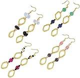 Nisha's 4 Pair Gemstone Earring Sets (Obsidian/Moonstone/Garnet/Jade/Lapis/Tourmaline Quartz/Czech Druk)