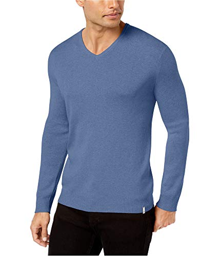 Calvin Klein Mens LS Knit Pullover Sweater, Blue, - Pullover Ls Knit