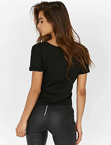 Minetom Mujer Camiseta Casual Color Solido Cuello Redondo Mangas Cortas Blusa Cuello Redondo Cintura Tiras Tops T Shirt Negro