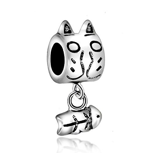 - The Curious Cat Love My Cat Pet Lover 925 Sterling Silver Bead Fits European Charm Bracelet (Cat & Fishbone)