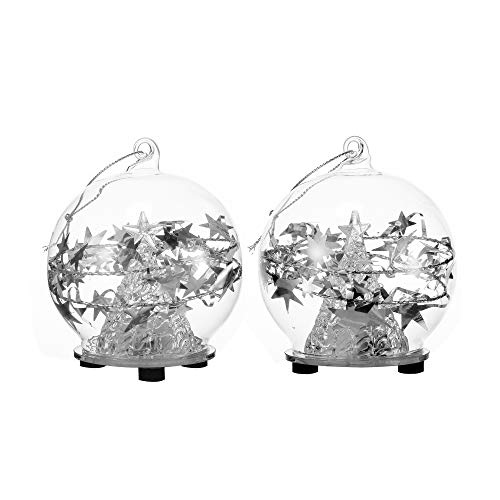 V-More Clear Glass LED Ball Ornaments Decorated with Christmas Tree and Stars for Christmas Home Decor Gift (Set of 2) ()